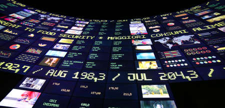 speculative: Milan, Italy - 8th September, 2015. Expo Milan 2015 Universal Exposition. Big monitor in the Zero Pavilion. Stock market of food