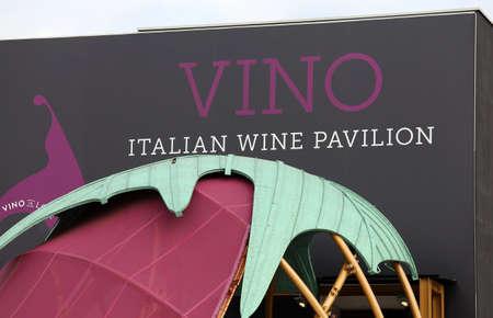 wine trade: Milan, MI, Italy - 8th September, 2015. Expo Milan 2015 Universal Exposition. Detail of Italian Wine Pavilion