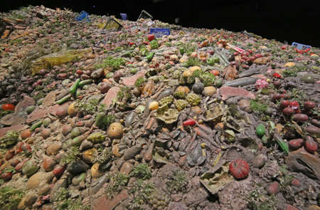 symbolize: Milan, MI, Italy - 8th September, 2015. Expo Milan 2015 Universal Exposition. Detail of the Pavilion Zero. Pile of wasted food to symbolize the culture of waste