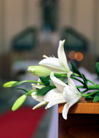 lily flowers: Interior of the Church is decorated with white flowers during the celebration of the marriage between two spouses at the altar