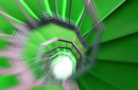 green carpet: as a hallucination of a long spiral staircase with green carpet