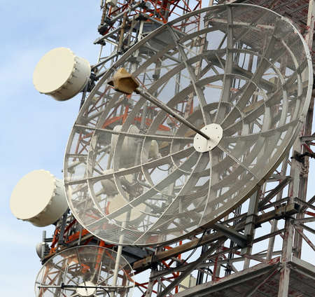 bugging: telecommunications antennas and repeaters of television and telephone signals Stock Photo