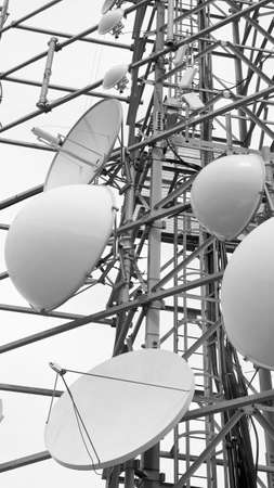 bugging: large telecommunications antennas and repeaters of television and telephone signals Stock Photo