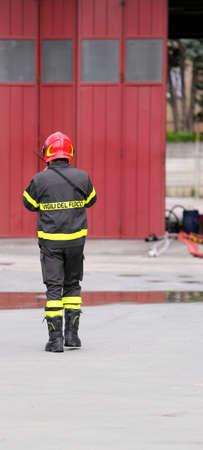fire brigade: Firefighters in uniform in the barracks of the fire brigade.