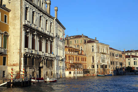 high tide: Venice palaces and houses in Canal Grande during high tide