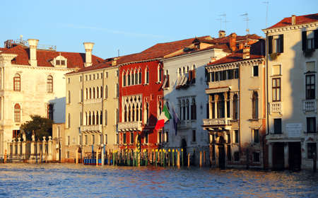 tide: Venice palaces and houses in Canal Grande during high tide