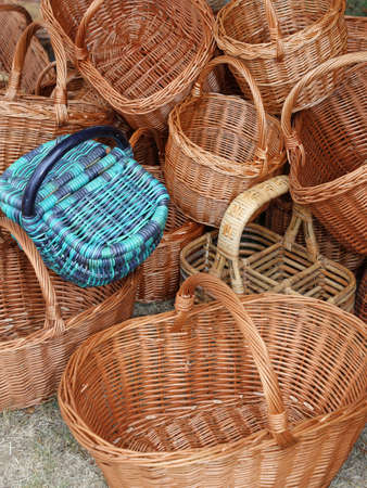 wicker work: many Wicker baskets handcrafted by a skilled craftsman Stock Photo
