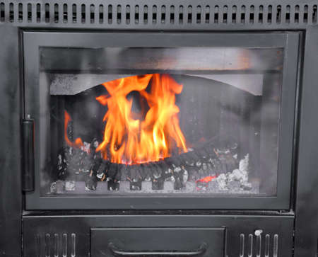 wood pellet: modern wood-burning stove to heat House in winter
