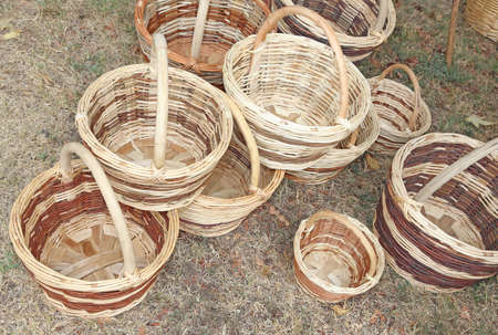 wicker work: Wicker baskets handcrafted by a expert craftsman Stock Photo