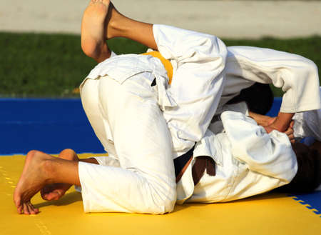 arts: martial arts combat during the sporting event Stock Photo