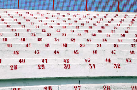 sporting event: bleachers of reinforced concrete of modern stadium before the sporting event Stock Photo