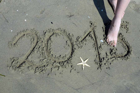 newyears: written 2015 year in the sand and a starfish with feet