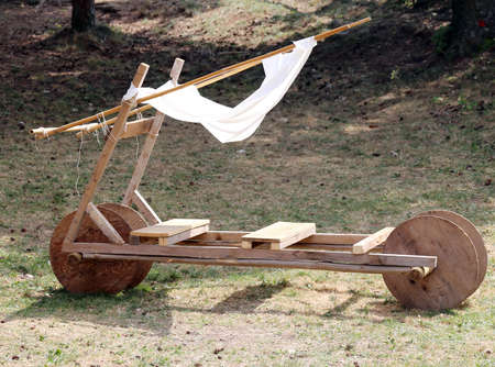 ���stone age���: funny old stone age car made of wood