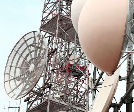 antennas: large telecommunications antennas and repeaters of television and telephone signals Stock Photo