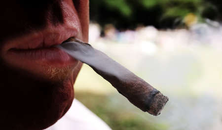 vices: cigar in mouth of heavy smoker