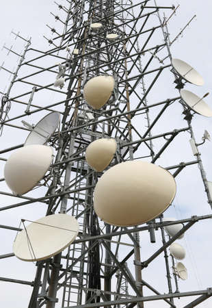 telecommunications antennas and repeaters of television and telephone signals Stock Photo