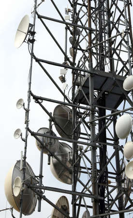 tumour: large telecommunications antennas and repeaters Stock Photo