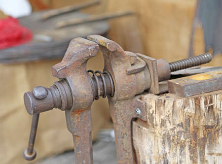 ancient blacksmith: Rusty blacksmith vise in the Museum of ancient things