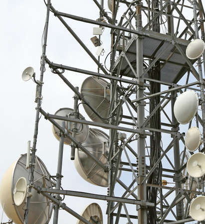 tumour: large telecommunications antennas and repeaters of television and telephone signals Stock Photo