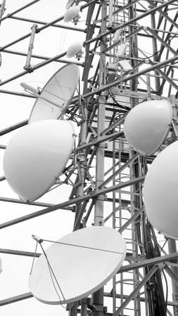 electromagnetism: large telecommunications antennas and repeaters of television and telephone signals Stock Photo
