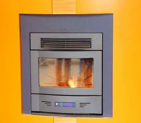 woodburning: modern wood-burning stove to heat House in winter