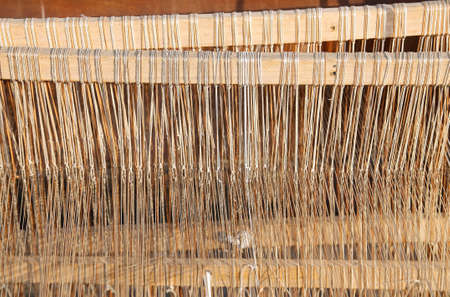 carding: old wooden Spinning frame for textile processing
