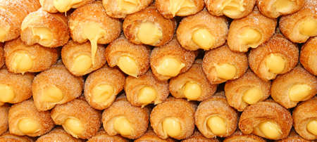cannoli pastry: many cakes and cannoli cream for sale in Italian pastry