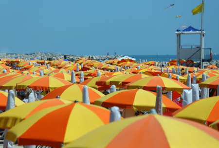 hot summer: parasol on the beach during the hot summer