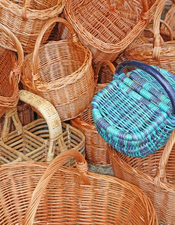 wicker work: Wicker baskets handcrafted by a craftsman