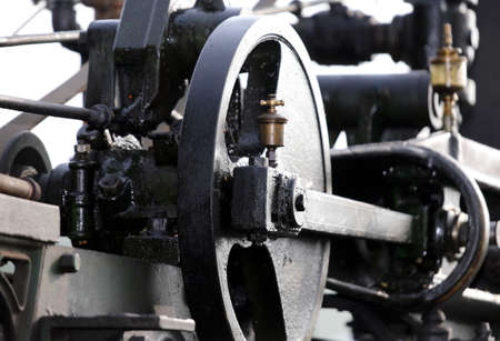 connecting rod: details of the gears of an old steam locomotive