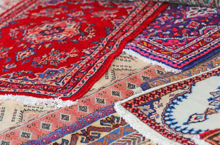prayer rug: luxurious carpets of fine Eastern manufacturing for sale Stock Photo
