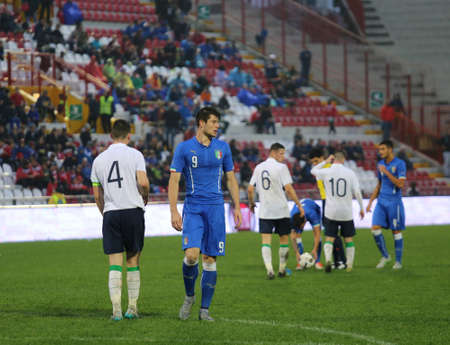 romeo: VICENZA, ITALY - October 13, 2015: UEFA Under-21 Championship Qualifying Round, football match between Italy and Republic of Ireland at Romeo Menti Stadium. Editorial