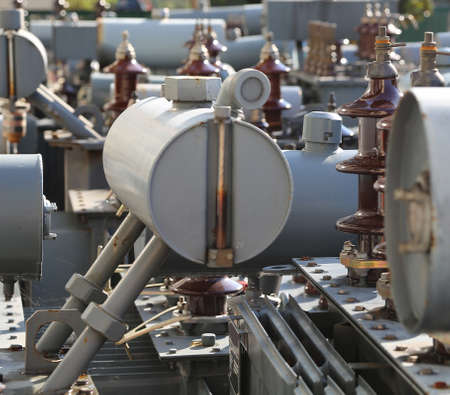 pollutants: many pollutants transformers obsolete and broken of electrical substations Stock Photo