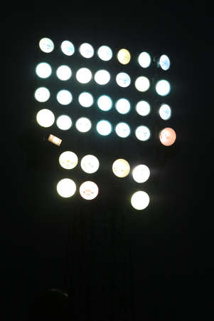 floodlights: immense tower floodlights with many spotlight Stock Photo