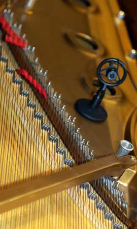 reg: inside of a piano with little hammer and strings and little microphone