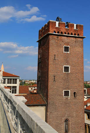 torment: ancient tower called Tower of Torment in Piazza delle Erbe in Vicenza in Italy