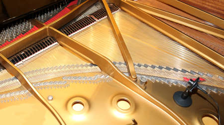 pianoforte: inside of a piano with little hammer and microphone