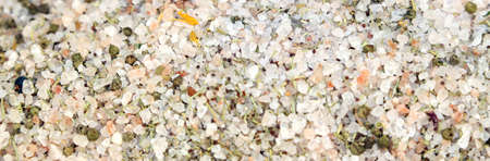 himalayan salt: background of grains of Himalayan salt sale in spice shop and food