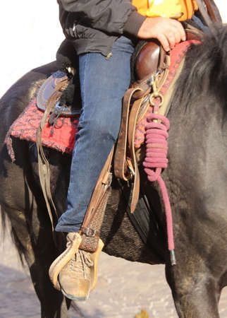 stirrup: Cowboy foot in the stirrup of the horse Stock Photo