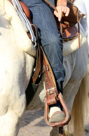 beast ranch: Cowboy boot in the stirrup of the horse during the ride Stock Photo