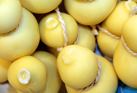 scamorza cheese: scamorza cheese on sale at the italian food market