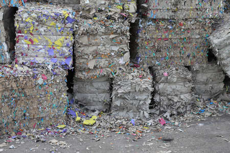 repurpose: heaps of waste paper in the paper mill for the production of recycled paper