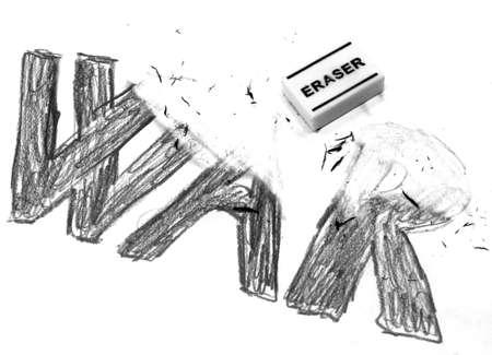 rubbery: Rubber Eraser deletes the written WAR Stock Photo
