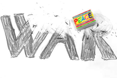 enmity: Eraser with PEACE flag deletes the black written WAR