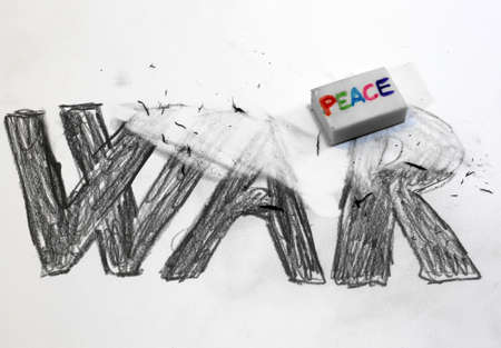 enmity: Eraser with written PEACE deletes the black written WAR