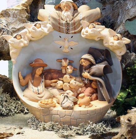 presepio: crib of South America with baby Jesus and many animals Stock Photo