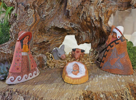 presepio: ethnic nativity scene in Latin America with baby Jesus and the holy family in the stable