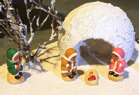 esquimales: nativity scene with the Eskimos to the north pole