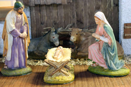 manger: classic Neapolitan nativity scene with baby Jesus Mary and Joseph in the manger