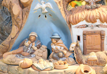 st  joseph: nativity scene with baby Jesus St Joseph and santa maria earthenware